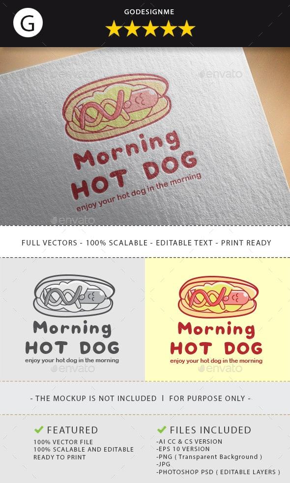 Morning Hot Dog Logo Design - Vector Abstract