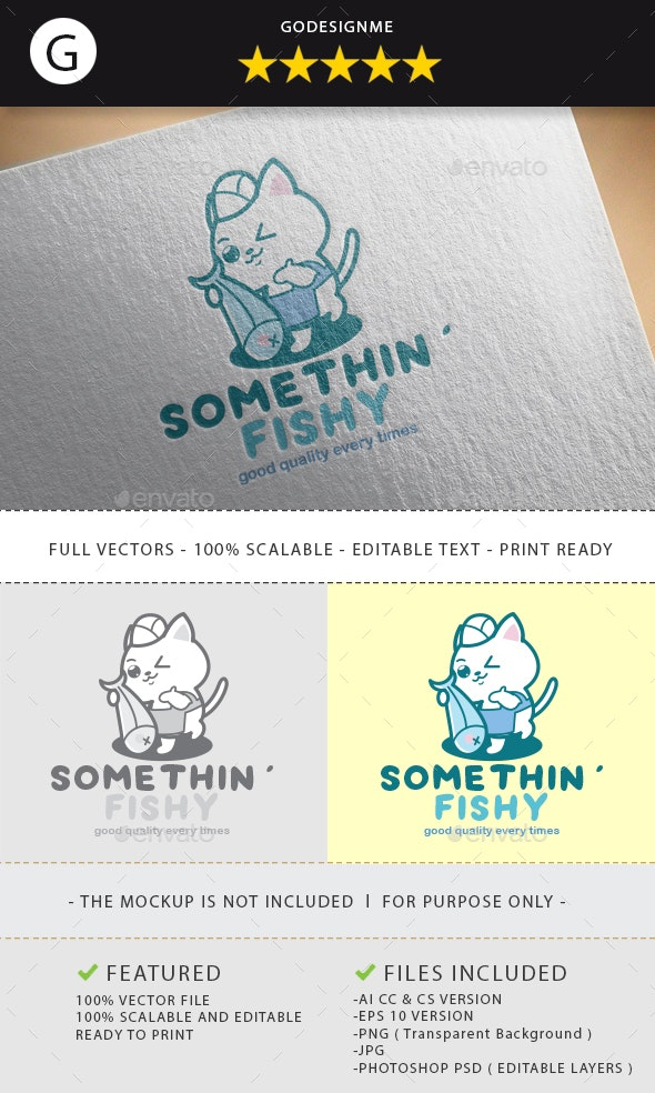 Somethin' Fishy Logo Design - Vector Abstract