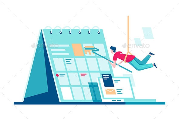 Flat Calendar with Task Managment and Man Painting - Miscellaneous Vectors