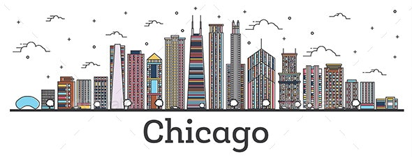 Outline Chicago Illinois City Skyline with Color Buildings Isolated on White. - Buildings Objects
