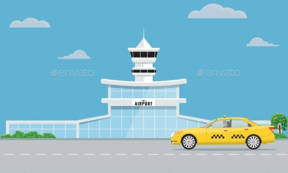 Airport Terminal Building and Yellow Taxi - Travel Conceptual