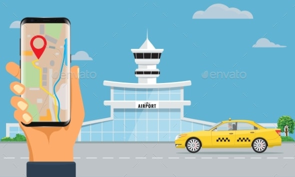 Airport Terminal Building and Yellow Taxi Hand - Man-made Objects Objects