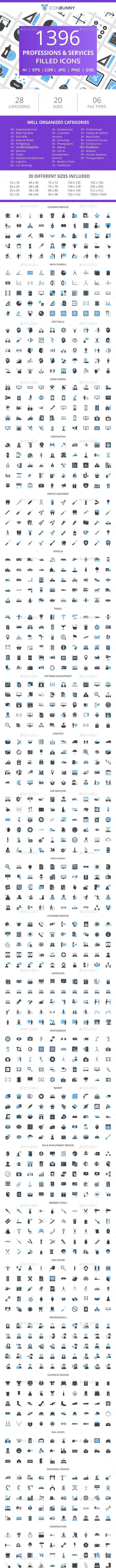 1396 Professions & Services Filled Blue & Black Icons - Icons