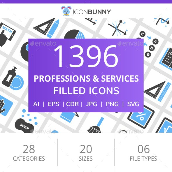 1396 Professions & Services Filled Blue & Black Icons