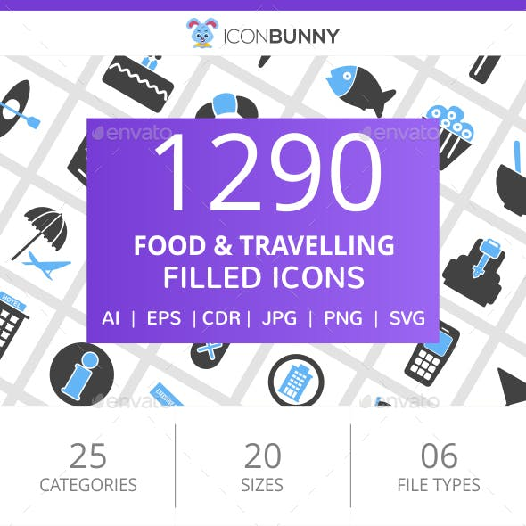 1290 Food & Travelling Filled Blue & Black Icons