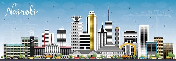 Outline Nairobi Kenya City Skyline - Buildings Objects
