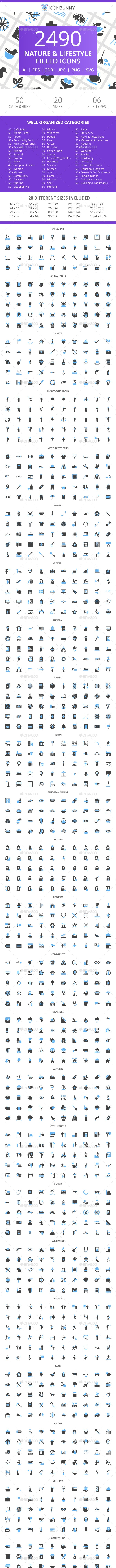 2490 Nature & Lifestyle Filled Blue & Black Icons - Icons