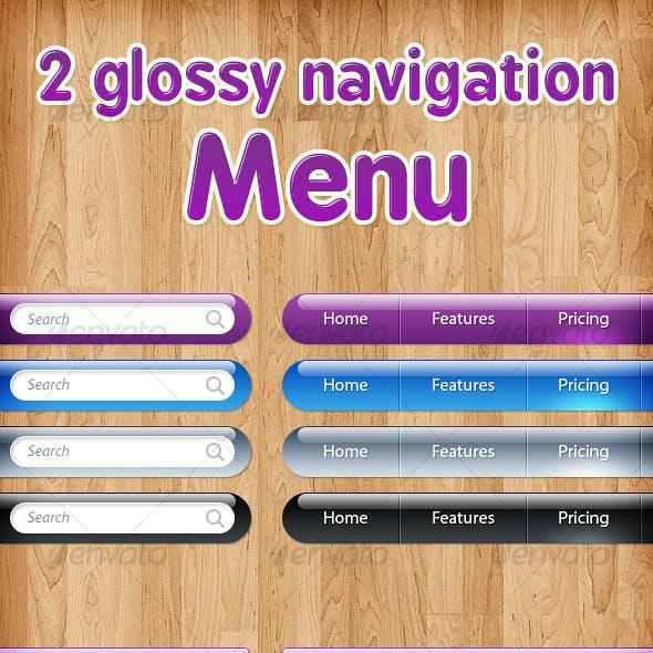 Two Glossy Navigation Menus