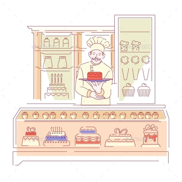 Baker in Bakery Shop Confectionery Cakes - Man-made Objects Objects