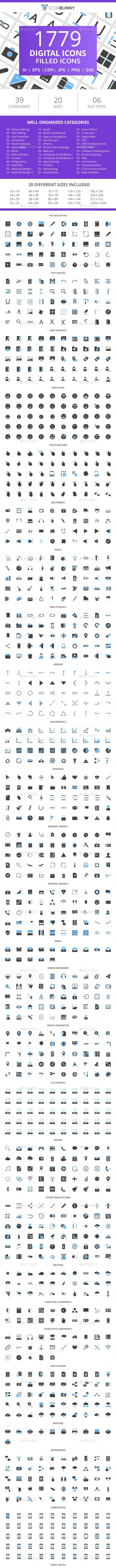 1779 Digital Filled Blue & Black Icons - Icons