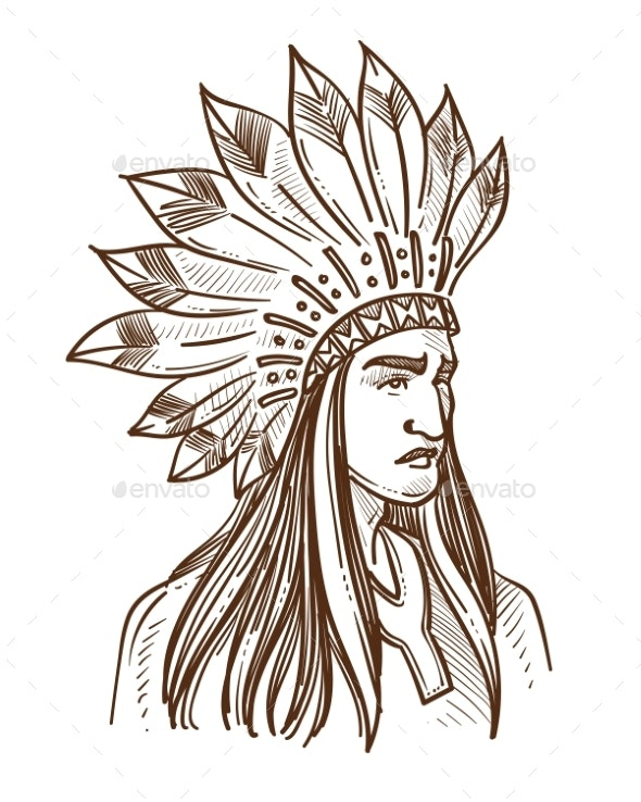 Native American in Feather Hat - People Characters