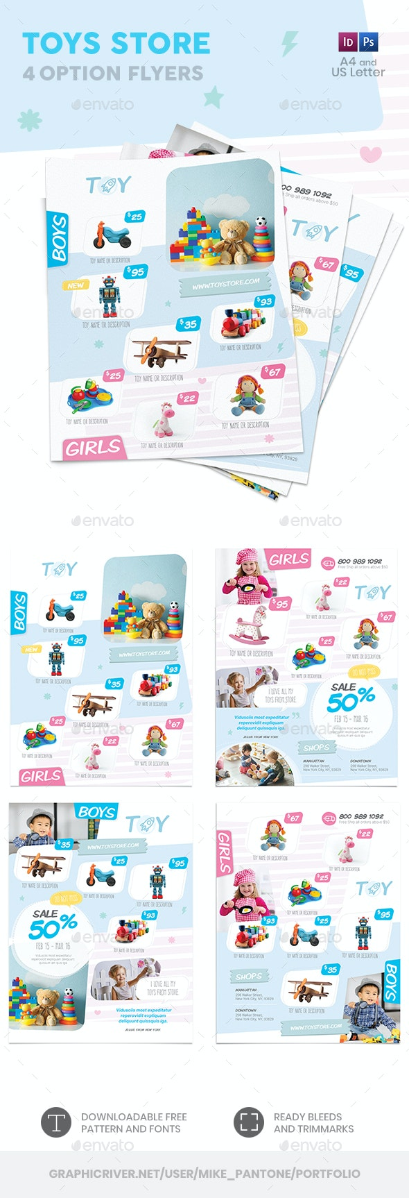 Toys Store Flyers 2 – 4 Options - Commerce Flyers