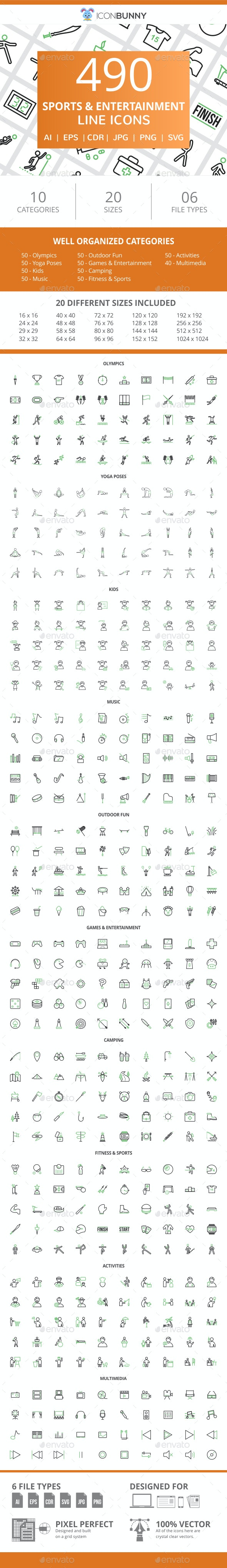 490 Sports & Entertainment Line Green & Black Icons - Icons