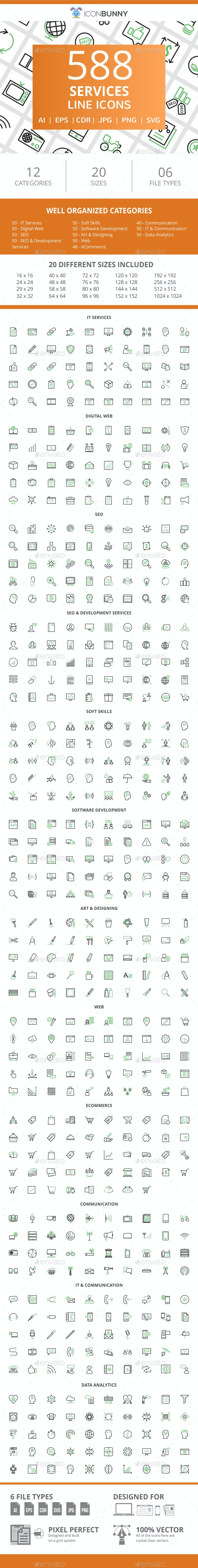 588 Services Line Green & Black Icons - Icons