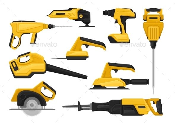 Flat Vector Set of Power Tools for Construction - Man-made Objects Objects