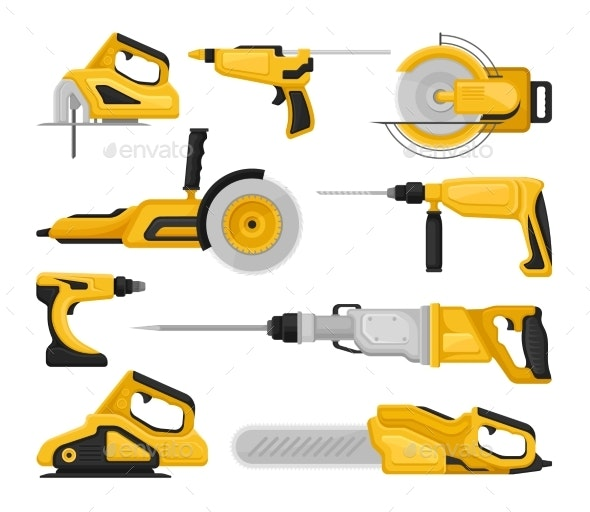 Flat Vector Set of Different Power Tools - Man-made Objects Objects