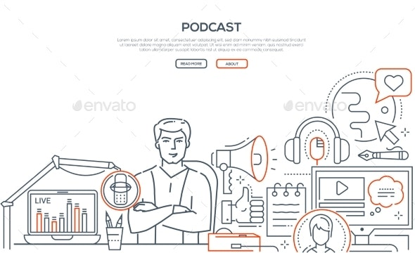 Podcast - Modern Line Design Style Web Banner - Concepts Business