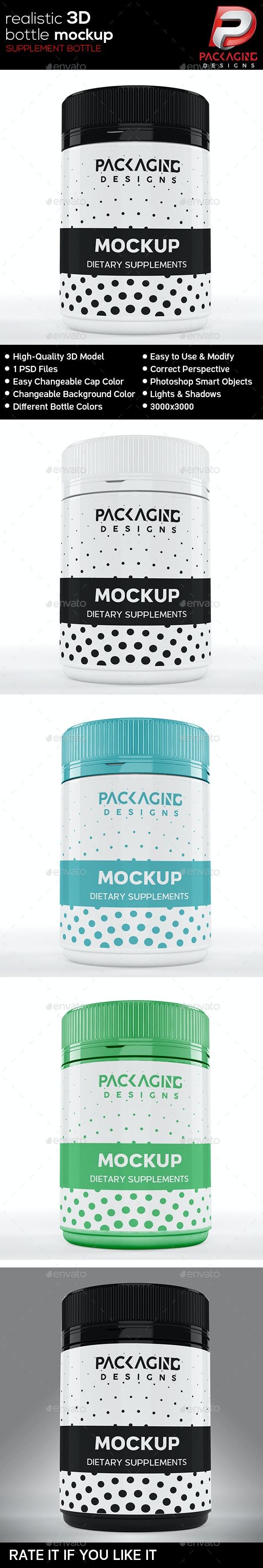 Realistic 3D Supplement Bottle Mock-Up-7 - Packaging Product Mock-Ups