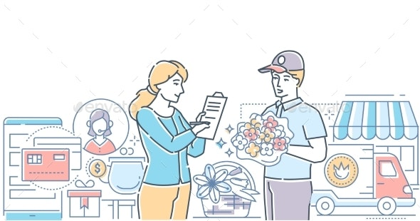 Flower Delivery - Modern Line Design Style Vector - Industries Business
