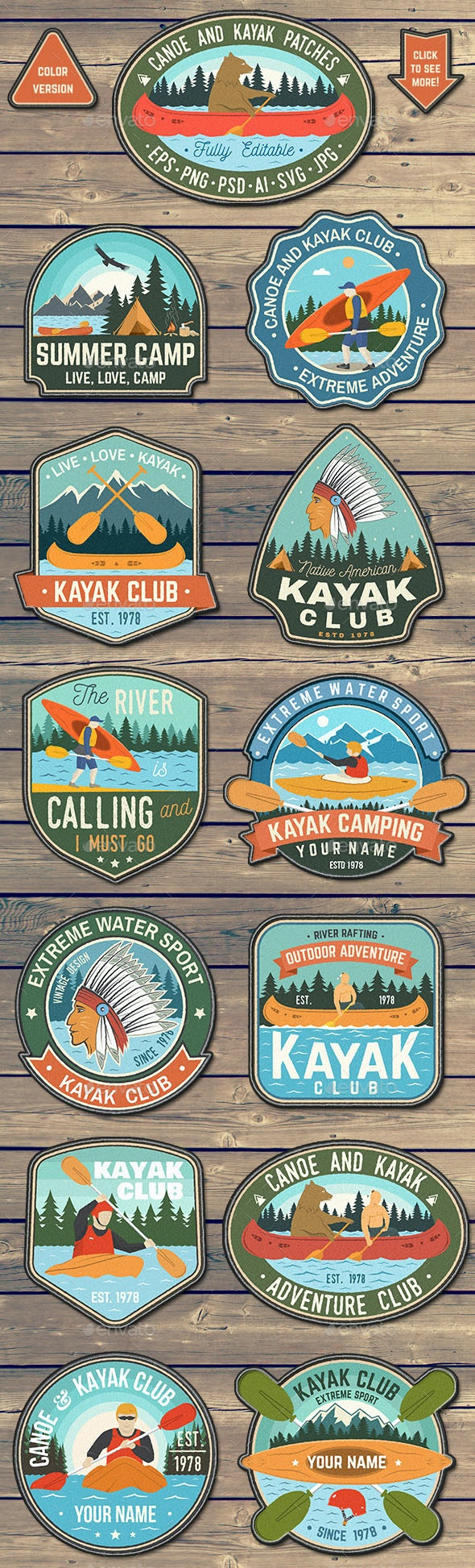 Canoe and Kayak Club Patches - Badges & Stickers Web Elements