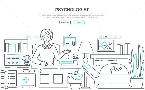 Psychologist - Modern Line Design Style Web Banner - Health/Medicine Conceptual