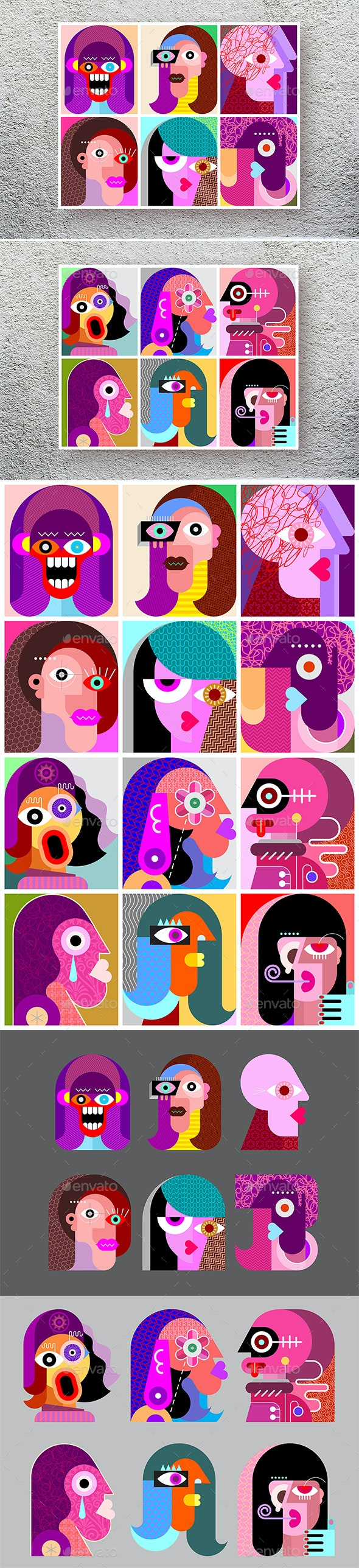 Twelve Abstract Vector Characters - People Characters