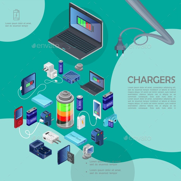 Isometric Modern Chargers Template - Computers Technology