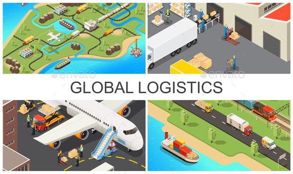Isometric Global Transportation Composition - Miscellaneous Conceptual