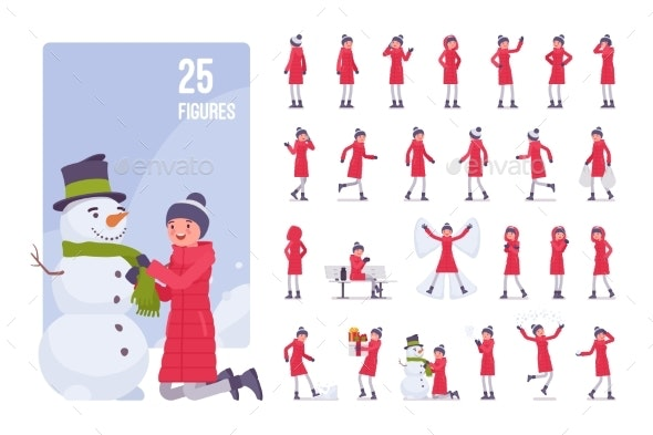 Young Woman in a Red Down Jacket Set - People Characters