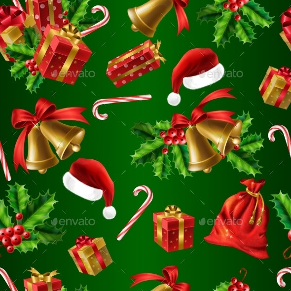 Winter Holidays Realistic Vector Seamless Pattern - Christmas Seasons/Holidays