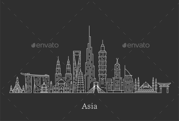 Asia Skyline - Buildings Objects