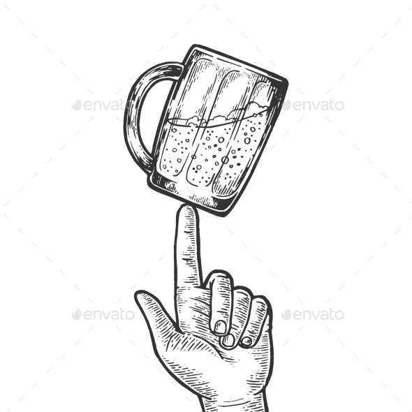 Beer Cup Spinning on Finger Engraving Vector - Miscellaneous Vectors