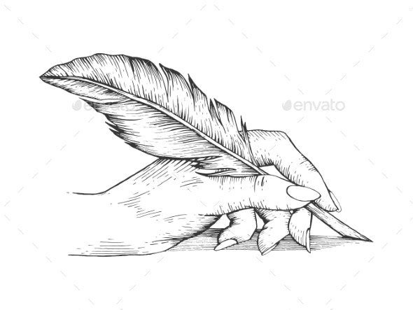 Hand with Pen Feather Engraving Vector - Miscellaneous Vectors