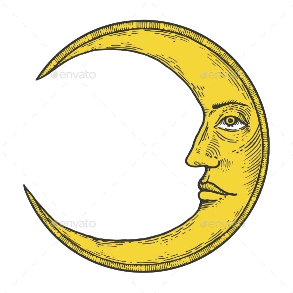 Moon with Face Engraving Style Vector Illustration - Miscellaneous Vectors