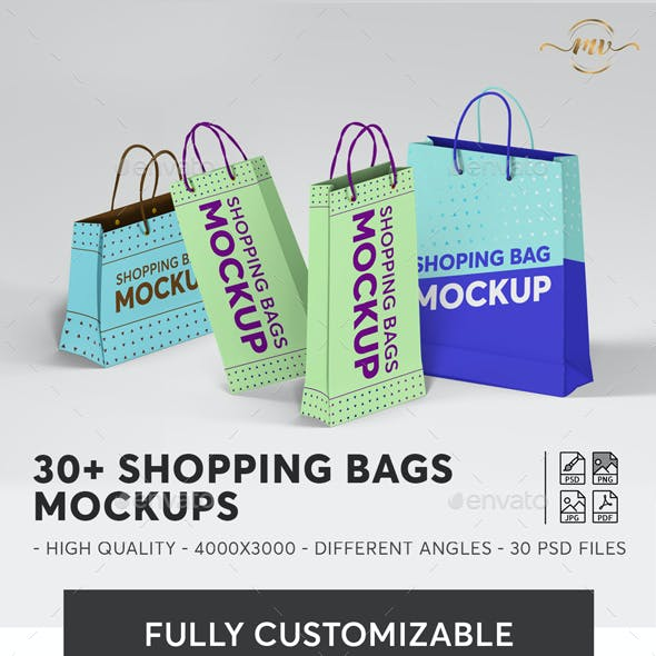 30+ Shopping Bags Mockups Bundle