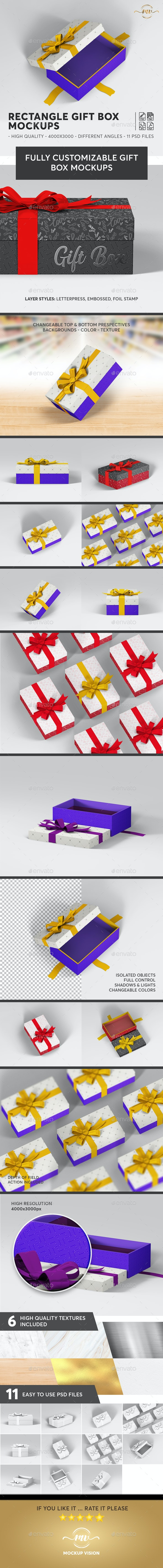 Gift Box Rectangle Mockups - Miscellaneous Packaging