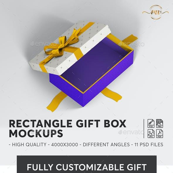 Gift Box Rectangle Mockups
