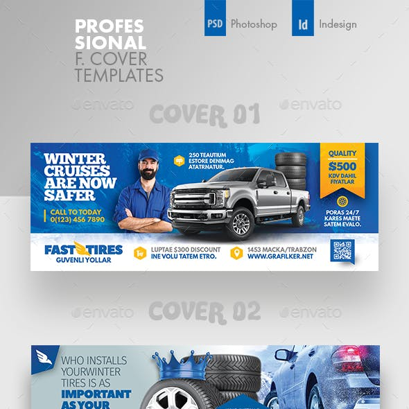 Auto Tires Cover Bundle Templates