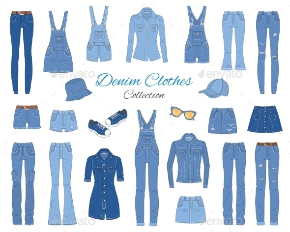 Denim Clothes Collection - Man-made Objects Objects