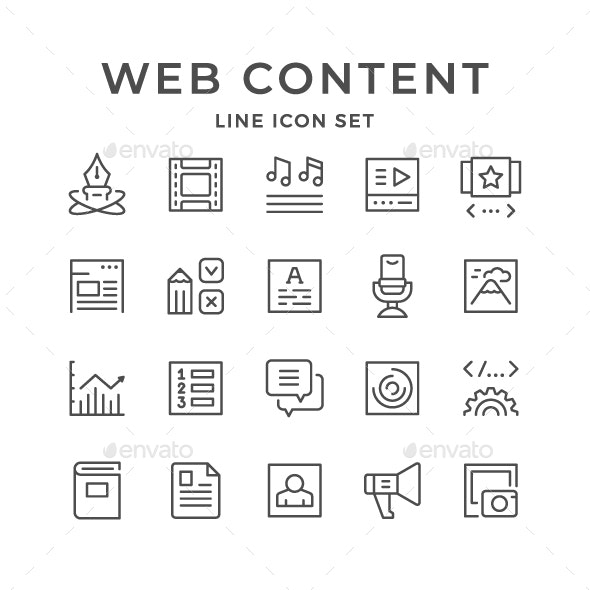 Set Line Icons of Web Content - Man-made objects Objects