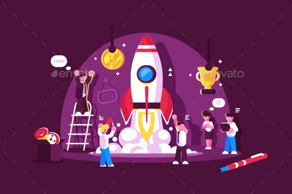 Red Rocket Start Up Space with People Celebrating - Concepts Business