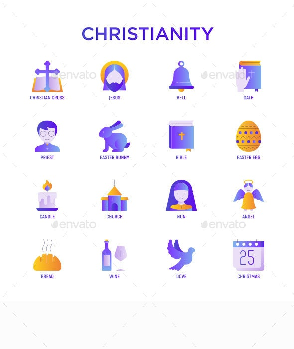 Christianity | 16 Flat Gradient Icons Set - Miscellaneous Icons
