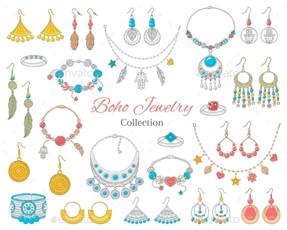 Fashionable Boho Jewelry Accessories Collection - Miscellaneous Vectors
