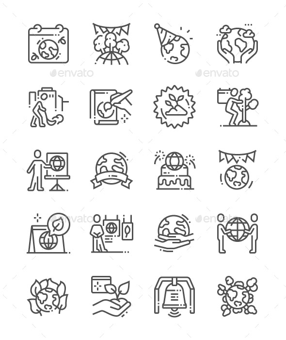 Earth Day Line Icons - Miscellaneous Characters