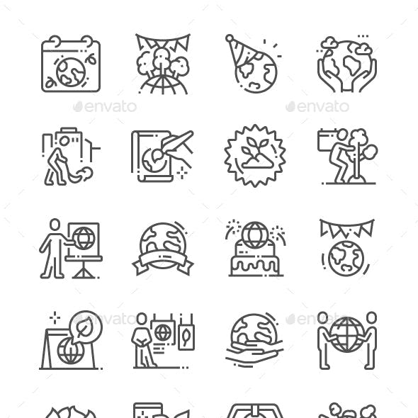 Earth Day Line Icons