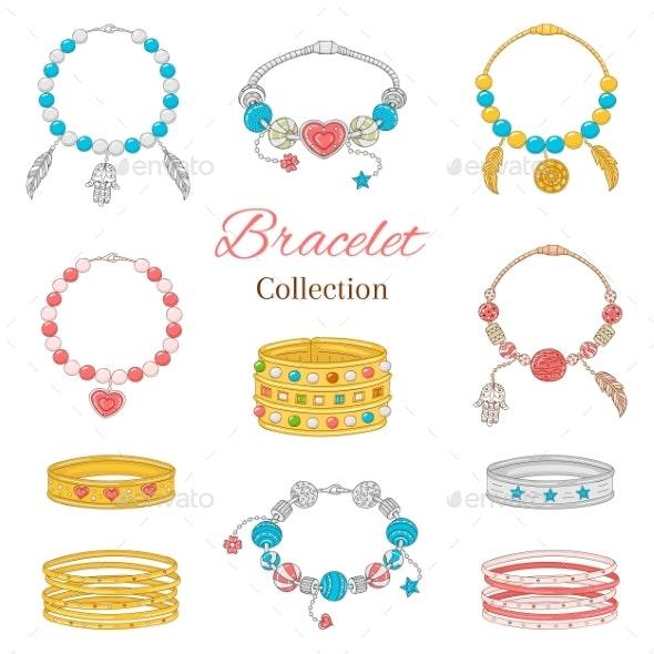 Women's Fashionable Pandora Bracelets Collection - Miscellaneous Vectors