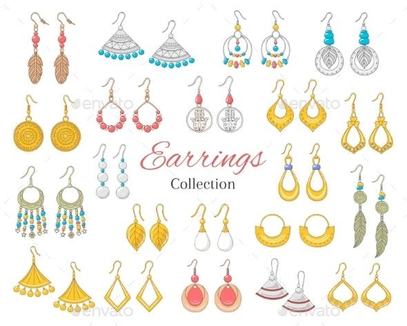 Fashionable Earrings Collection - Miscellaneous Vectors