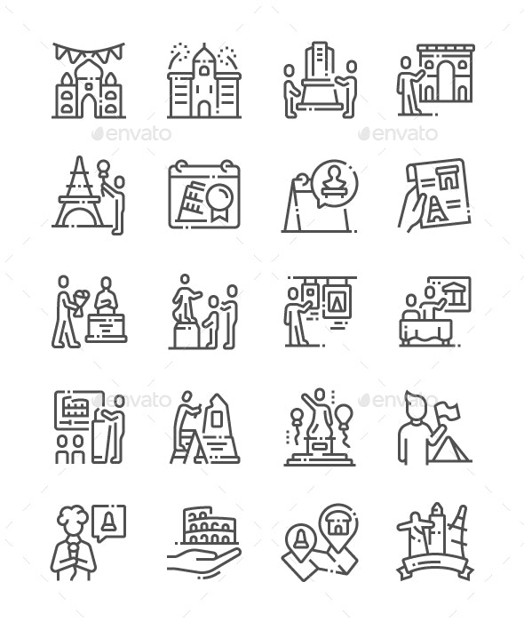 International Day for Monuments and Sites Line Icons - Buildings Objects