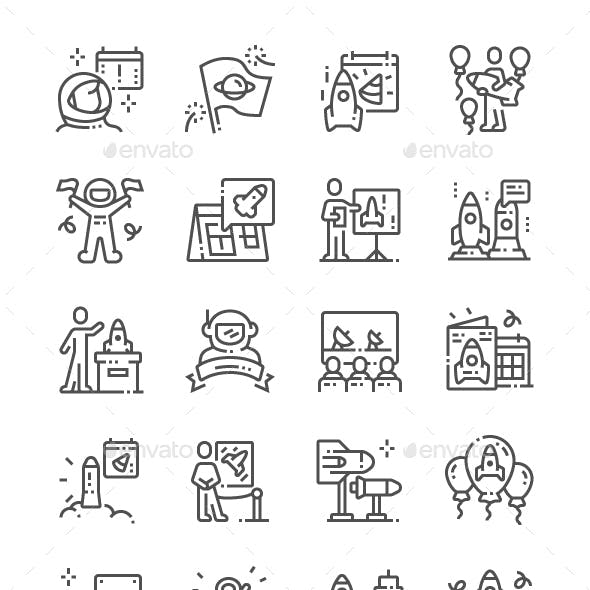 International Day of Human Space Flight Line Icons