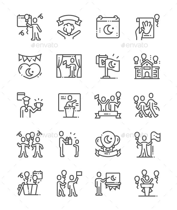 National Sovereignty and Children's Day Line Icons - People Characters